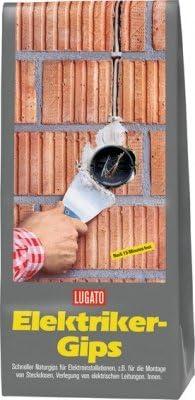Lugato Elektrikergips 5 kg – Zum Einsetzen von Steckdosen und zur Verlegung von elektrischen Leitungen