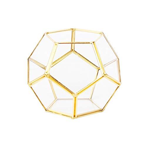Linkool Stilvolles Glas-Terrarium, geometrische Formen für Pflanzen, geschlossen, Farbe Kupfer Schwarz und Gold, Wasserauslaufschutz, glas, gold, M