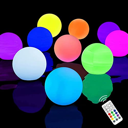 Chakev Floating Pool Lights 10 Pack, 16 Colors Remote Control Pond LED Ball Lights with Timer, 3 inch Waterproof Glow Orb Hot Tub Light Kids Night Light for Pool Party Decor