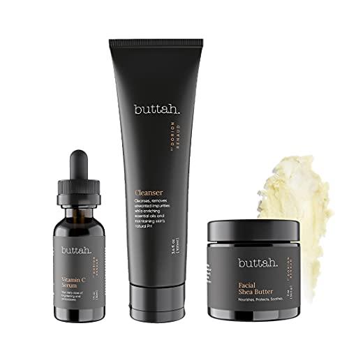 Buttah Skin by Dorion Renaud Complete Skin Kit for Melanin Rich Skin | Facial Shea Butter 2oz | Vitamin C Serum 1oz | Facial Cleanser 3.4oz | Organic & All Natural Skin Care | Black Owned Skincare