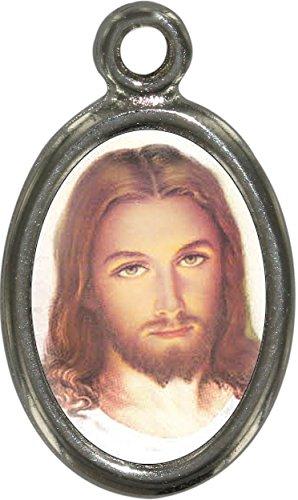 Ferrari & Arrighetti Medalla Jesús de Metal niquelado con Resina - 2,5 cm (Paquete de 10 Piezas)