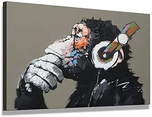 AMCYT Cuadro pintado a mano al óleo sobre lienzo Pop Art Putziger chimpancé escucha música con auriculares con marco listo para colgar, 60 x 90 cm (noframe, 16 x 24 pulgadas)