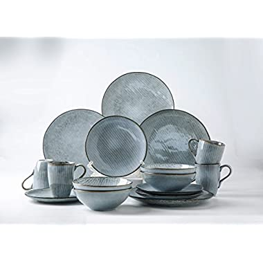 Pangu 16-Piece Porcelain Dinnerware Sets, Zen, Grey with White Stripes, Service for 4 (16 piece)
