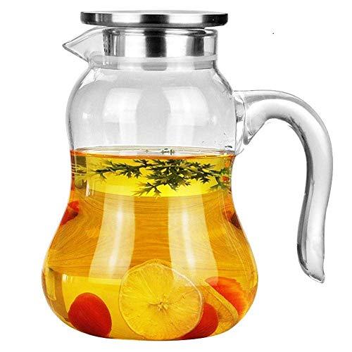 HJYSQX Jarra de agua de vidrio, jarra de zumo frío con tapa de acero inoxidable con vidrio borosilicato jarra para vino tinto, vino, jugo, leche, agua fría helada, café caliente, etc