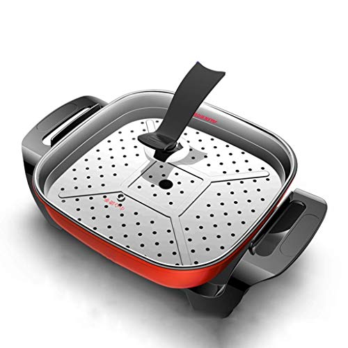 Multifunctionele rijstkoker Integrated Iron Plate Roerbak Korean Barbecue 2-4 Personen Hot Pot Electric Fried Rice Pan ZHANGKANG (Color : Red)