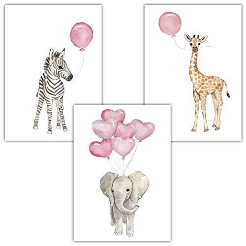 Frechdax® Wandbilder 3er Set für Babyzimmer Deko Poster (3er Set Rosa, Elefant, Giraffe, Zebra)