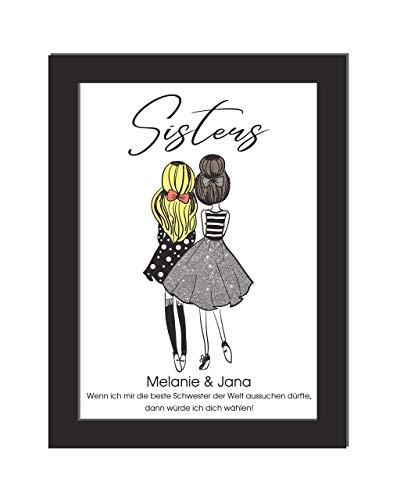 Personalisiertes Wandbild/Sisters/Geschenk Schwester/Einweihungsgeschenk/Geburtstag/Umzug/Haarfarben wählbar/DIN A4, ohne Bilderrahmen