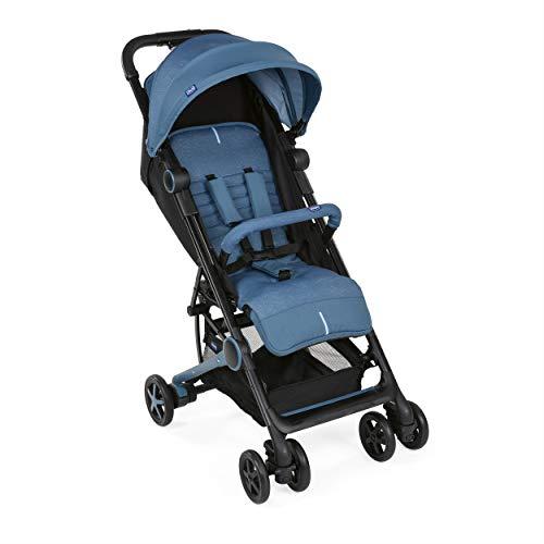 Chicco MIINIMO3 Buggy, kompakter Reisebuggy, ultraleicht, ab Geburt, mit Transportrucksack, blau