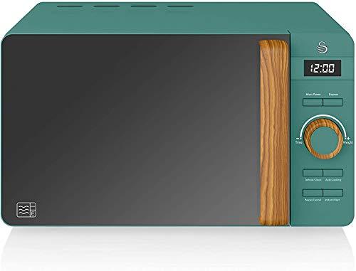 Swan Nordic Digitale Mikrowelle 20 l, 6 Betriebsstufen, 800 W Leistung, 30 Minuten Timer, einfache Reinigung, Auftau-Modus, modernes Design, Holz-Effekt, grün matt