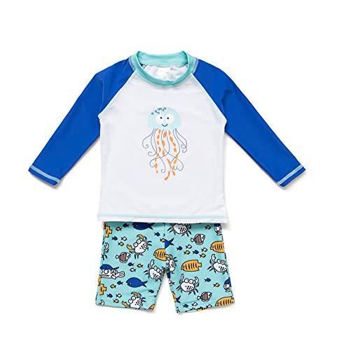 BONVERANO Kinder Jungen Zweiteilige Bademode LSF 50+ Sonnenschutz mit Sonnenschutz, Kinder, weiß, 4T