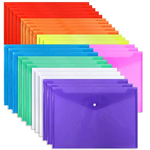 EOOUT 28pcs Poly Envelope Folder, 8 Colors, Clear Plastic Envelope with Snap Button Closure, A4 Size, Letter Size, for School and Office Supplies