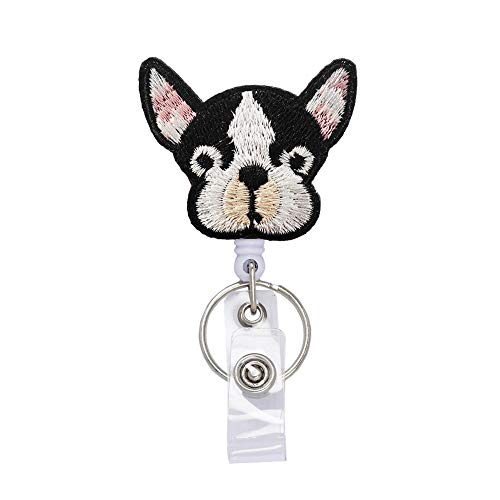 Cute French Bulldog Dog Badge Reels Retractable, with Alligator Clip and Key Ring, 24 inches Thick Pull Cord