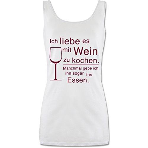 Shirtracer Küche - Ich Liebe es mit Wein zu Kochen - L - Weiß - Geschenk - P72 - Tanktop für Damen und Frauen Tops