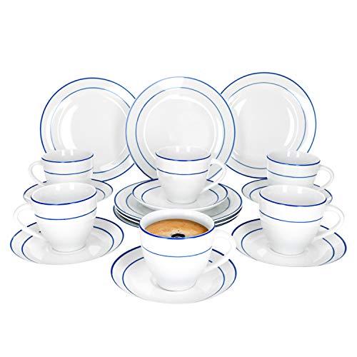Van Well 18-teiliges Kaffee-Service Blue Line I Geschirr-Set für 6 Personen - modern & pflegeleicht I Tassen Unterteller Kuchenteller - spülmaschinengeeignet I Kaffeeservice 6 Personen weiß-blau