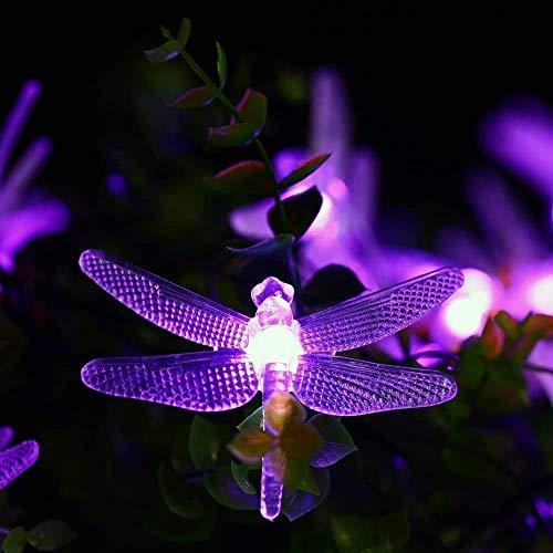 MJYT Luces de Navidad 20FT/6M Libélula Solar Cadena Luces 30 LED al aire libre impermeable para el hogar interior Jardín Jardín Patio Árboles Bodas