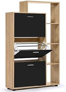 IDMarket - Meuble à chaussures imitation hêtre 3 portes noires avec étagères