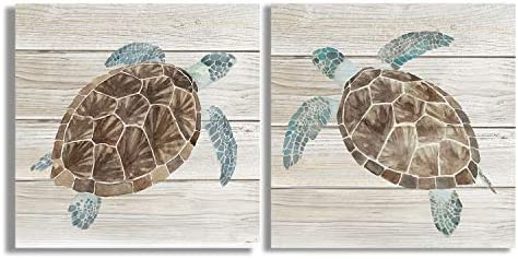 1 Pair of Turtles Prints on Wood Color Background Canvas Oil Painting for Bathroom Classic Wall product image
