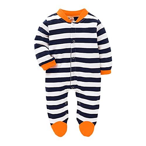 Alunsito Neonato Ragazza Ragazzo Autunno Inverno Vestiti Manica lunga A righe/Dots Stampa Footed Tuta Tuta Abiti blu1 80 3-6 mesi