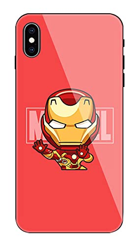 Ironman Marvel Avenger Ultra Thin Anti-Scratch Tempered Glass Back Case with Shockproof Silicone Cute Cool Model 360 Protective Skin for iPhone-A_For_iphone_7