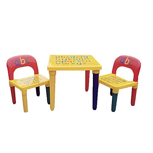 SavingPlus ABC Alphabet Children Plastic Table and Two Chairs Set Gift - Kids Toddlers Child UK