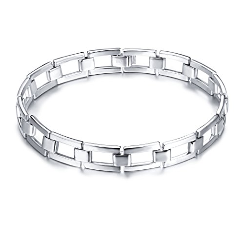 Men's Real S925 Sterling Silver Classic Link Cuff Bangle Bracelet Father Jewelry
