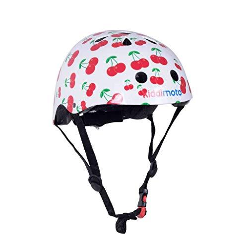 KIDDIMOTO Fahrrad Helm für Kinder - CE-Zertifizierung Fahrradhelm - Design Sport Helm für Skates, Roller, Scooter, laufrad - Kirschen - M (53-58cm)