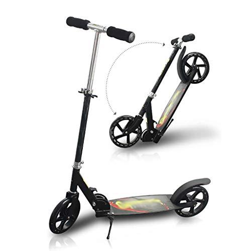 WYQ Kick Scooter for Adultos, Aleación de Aluminio Commuter Scooter Soporte 100kg, Rueda de PU Resistente al Desgaste, Scooters Plegables no eléctricos, Barra Ajustable (Color : Negro)