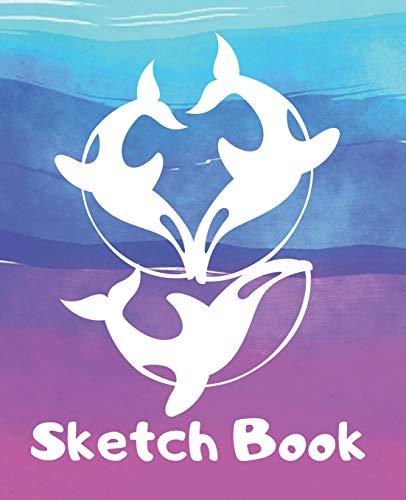 Sketch Book: White Whales & Watercolor Water Waves Cute Kids Blank Journal for Sketching Coloring or Writing (Kid's Scribble Doodle Zone)