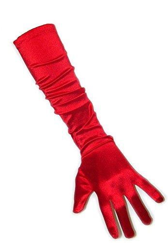 PartyXplosion Damen Handschuhe Elegante ca. 48-52 cm lange Satin Handschuhe Karneval, Rot, Einheitsgröße