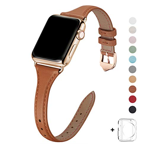 WFEAGL Leather Bands Compatible with Apple Watch 38mm 40mm 42mm 44mm, Top Grain Leather Band Slim & Thin Replacement Wristband for iWatch SE & Series 6/5/4/3/2/1 (Brown/Gold, 38mm 40mm )