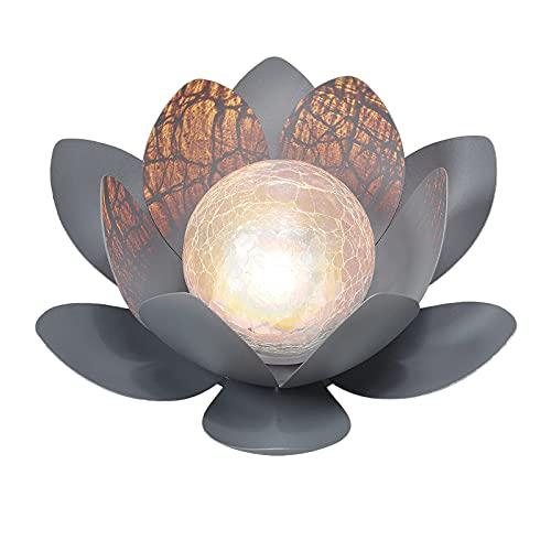 solares al aire libre, loto solar y bola de cristal de cristal, luces solares de jardín, luces LED de metal impermeables para patio, decoración de acera, efecto de iluminación Decorativa Solar Lámpara