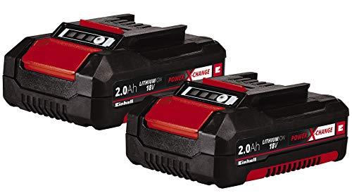 Original Einhell Akku PXC-Twinpack 2,0 Ah Power X-Change (Li-Ion, 18 V, 2 St. 2,0 Ah-Akkus, universell für alle PXC-Geräte, proaktives Batteriemanagement, angepasste Ladezyklen)