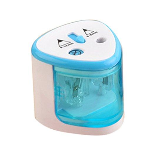 Foxom - temperamatite elettrico con fori grandi e piccoli, 6 mm - 12 mm, per casa, scuola e ufficio 7.5*7.5*7cm Blue