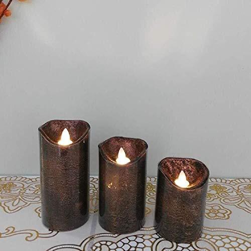 LUGEUK LED Candle Light Vintage koper goud 3 stuks vlamloze kaars met afstandsbediening en timer