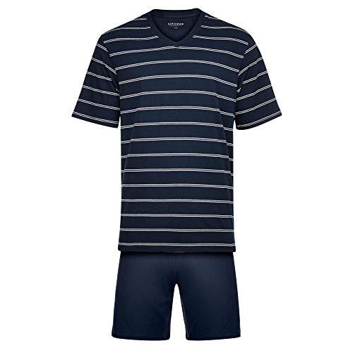 Schiesser 159621 Herren Shorty aus softer Single-Jersey Elastikbund Baumwolle, Groesse 52, dunkelblau/gestreift