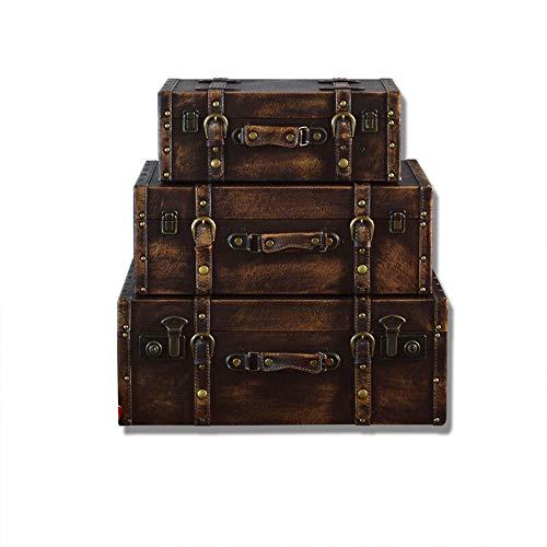 EXCLVEA Vintage Aufbewahrungskoffer Trunk Altertümlich Antik Vintage Style Suicase for Regal Holz Wohnkultur Parteien Hochzeit Dekoration Displays Crafts (Farbe : Braun, Größe : 38.5x25.5x15cm)