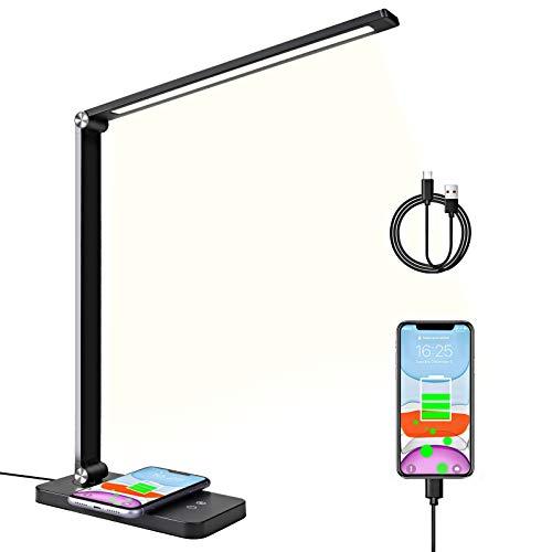 Lámpara de Escritorio LED con Cargador Inalámbrico, Lámpara Escritorio con Puerto de Carga USB, Lámpara de Oficina con 5 Colores, 5 Niveles de Brillo Regulable Lámpara de mesa para Leer