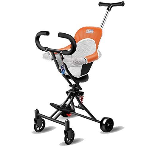 CAIMEI Cochecito de coche para niños, con 4 ruedas, plegable, ligero, 1-3-6 años, suave asiento de rueda de flash (color negro), negro