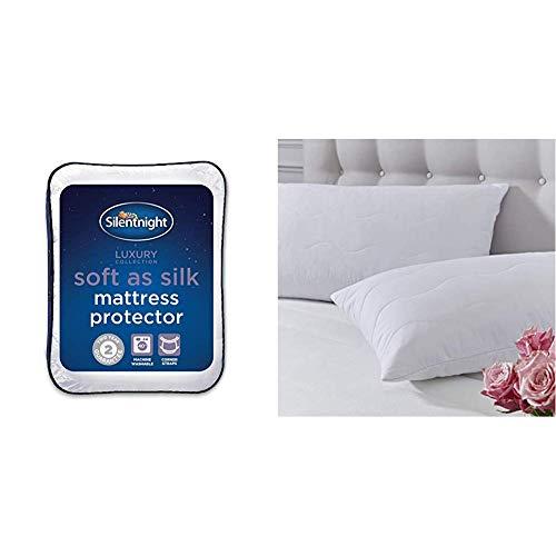 Silentnight Soft as Silk Mattress Protector - Double  with Silentnight Soft as Silk Pillow Protector - Pack of 2