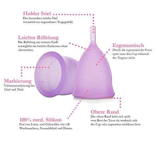 Feecup Menstruationstasse FEE SPORT Größe S – Farbe lila – 100% medizinisches Silikon, Menstruationskappe FDA zertifiziert – keine Weichmacher – besonders bei sportlichen Frauen eine der beliebtesten Menstruationskappen in DEUTSCHLAND . - 4