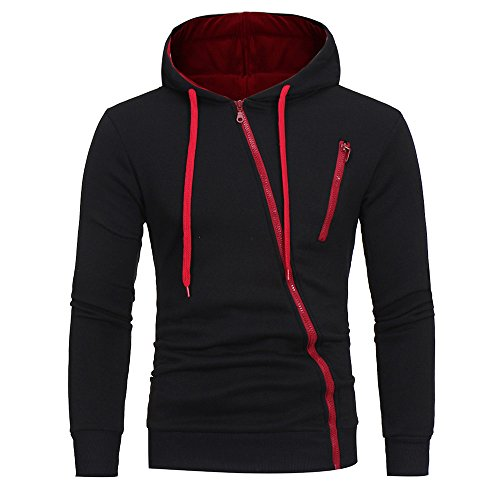 Sweat à Capuche Homme Printemps Automne Hiver Sweat Shirt Manteau Veste Fermeture Zippée Oblique Hoodies Slim Tops De Sport Noir M