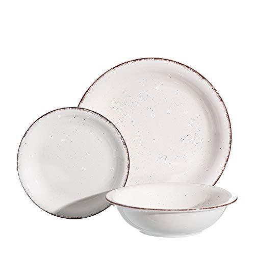 Vajilla con ribete blanca de porcelana stoneware de 18 piezas - LOLAhome