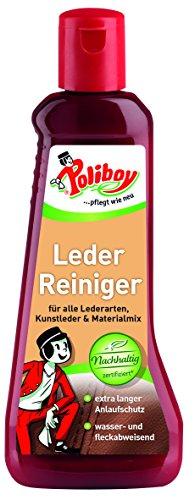 Poliboy - Leder Reiniger - für alle Lederarten, Kunstleder und Materialmix - extra langer Anlaufschutz - Lederreinigung - Einzeln - 200ml Flasche - Made in Germany