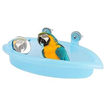 Pssopp Baignoire Perroquet Cute Pet Bird Baignoire Box Bird Douche Baignoire Accessoires avec Miroir Cage Oiseau Jouet Accessoire Bleu