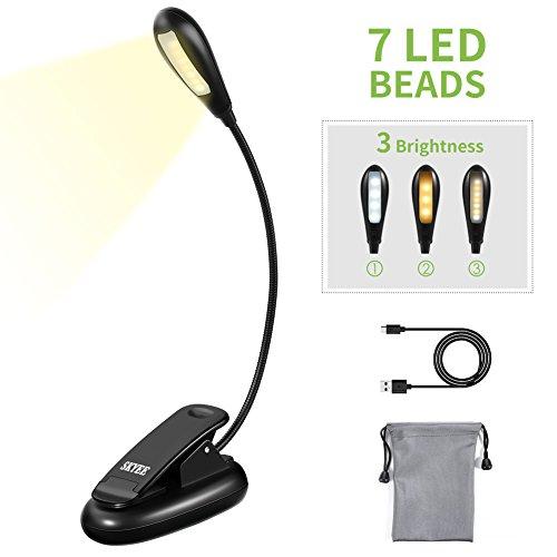 SKYEE Luz de Lectura para Libro, Flexo de Pinza Recargable LED Lámpara Ebook 7 Luces LED 3 Niveles de Intensidad USB Cable de Carga Incluido Luz Portátil Clip para Lectores Noche