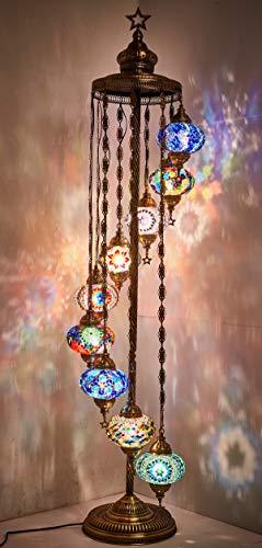 DEMMEX - 9 Big Globes Turkish Moroccan Mosaic Floor Lamp Light, Bohemian Boho Tiffany Mosaic Floor Lamp with North American Plug & Socket, 6 feet (Multicolors & Blue,Teal,Lilac)