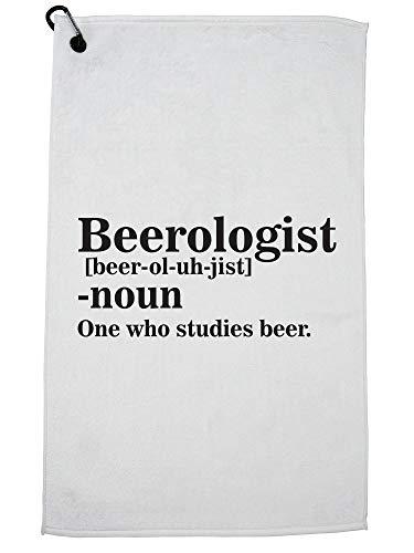 Hollywood Thread Beerologist One Who Studies Bier - Woordenboek Definitie Golf Handdoek met Karabijnhaak Clip