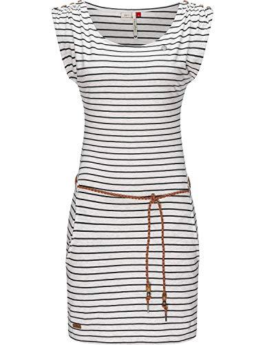Ragwear Damen Kleid Dress Sommerkleid Jerseykleid Freizeitkleid Strandkleid Chego Stripes Intl. White Gr. M
