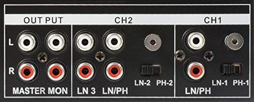 Vonyx STM-2300 Table de mixage 2 canaux – Entrée RCA phono/ligne commutable, Sortie principale...