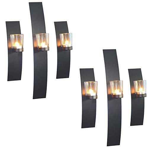 Dekoratives 6'er Set Wandkerzenhalter für Teelichter Stillvolles Design aus Metall mit Glaszylinder